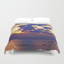 Abstract Clouds over the Sea - The Running Man Duvet Cover