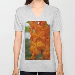 Orange Orchids Unisex V-Neck