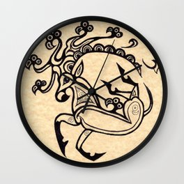 Scythian Deer Tattoo, Ink Drawing inspired by the Ice Princess by Sheridon Rayment Wall Clock