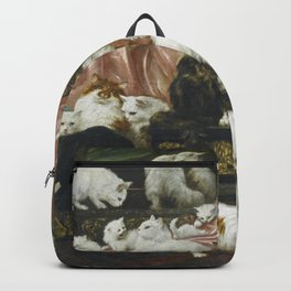 My Wife's Lovers by Carl Kahler 1883 Famous Cat Painting Backpack