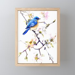 Bluebird and Dogwood, bird and flowers spring colors spring bird songbird design Framed Mini Art Print