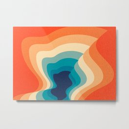 Retro 70s and 80s Color Palette Mid-Century Minimalist Abstract Art Metal Print