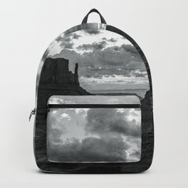 Southwest Wanderlust - Monument Valley Sunrise Black and White Backpack