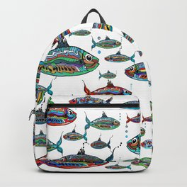Colored fish ( white background) Backpack