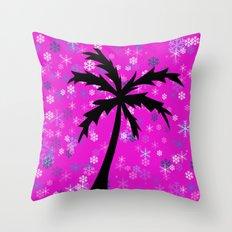 Palm Tree and Snowflakes Throw Pillow