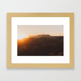 Hollywood Sign from Griffith in the sunset Framed Art Print