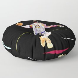 LeBron // King James Lebron basketball player, sports-star, and baller dunking on a basketball goal Floor Pillow