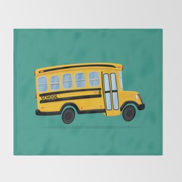 Cute School Bus Throw Blanket
