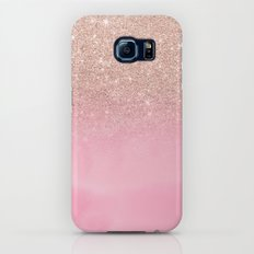 Modern rose gold glitter ombre hand painted pink watercolor Slim Case Galaxy S8