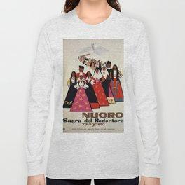 Nuoro Sardinia vintage Italian travel ad Long Sleeve T-shirt