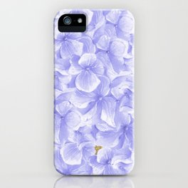 Elegant lavender white faux gold watercolor hydrangea flowers iPhone Case