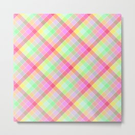 Pastel Rainbow Tablecloth Diagonal Check Metal Print