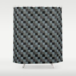 Rustic Teal Blue Green Black Patchwork Shower Curtain