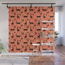 Animal kingdom. Black silhouettes of wild animals. African giraffes, leopards, cheetahs. snakes, exotic tropical birds. Tribal primitive ethnic nature coral red grunge distressed pattern. Wall Mural