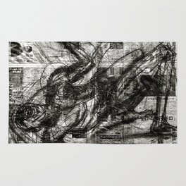 Breaking Loose - Charcoal on Newspaper Figure Drawing Rug