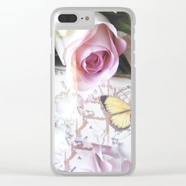 Roses And Butterflies Clear iPhone Case