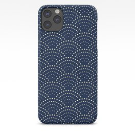 Japanese Blue Wave Seigaiha Indigo Super Moon Pattern iPhone Case