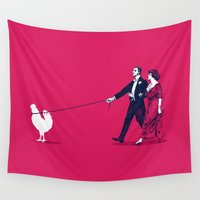 cock Wall Tapestries featuring Walking the Cock by rob art | simple