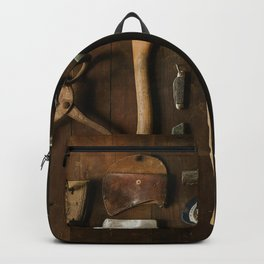 Wood Work and Carpenter's Tools on a Bench Backpack