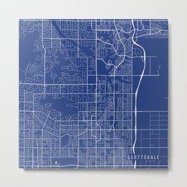 Scottsdale Map, USA - Blue Metal Print