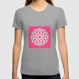 Mandala Pattern in Fuchsia Pink, Grey and White T-shirt