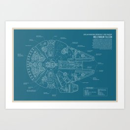 Millennium Falcon blueprint Art Print