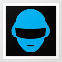 deadmau5 Art Prints featuring Daft Punk Thomas Bangalter Helmet by Alli Vanes