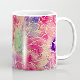 Pink gold teal watercolor hand painted floral pattern Coffee Mug