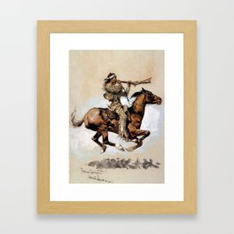 "Frederic Remington ""Buffalo Hunter Spitting Bullets"" Western Art Framed Art Print"
