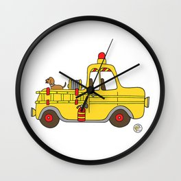 Firetruck Yellow Vintage Fire Truck Wall Clock