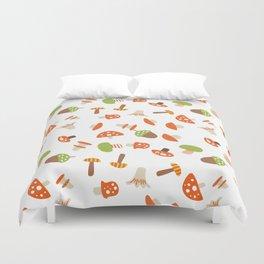 Artistic hand painted orange green autumn mushroom pattern Duvet Cover