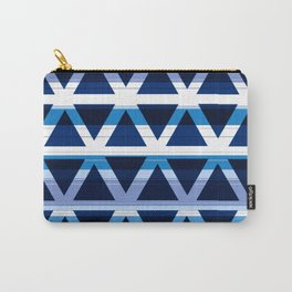 Blue and White Triangle Pattern Design Carry-All Pouch