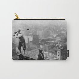 Tough Par Four - Golf Game at 1000 feet black and white photograph Carry-All Pouch