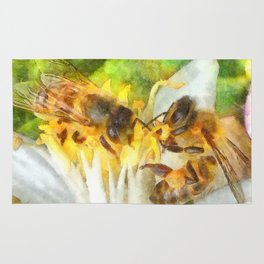 Bees and Flowering Plants Watercolor Rug