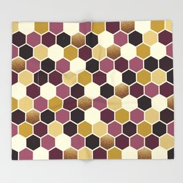 Hexagon Wine and Gold Palette Throw Blanket