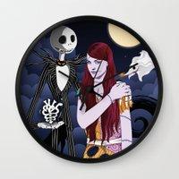 nightmare before christmas Wall Clocks featuring The Nightmare Before Christmas by Cécile Appert