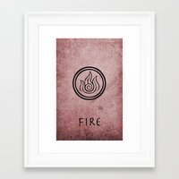 the last airbender Framed Art Prints featuring Avatar Last Airbender Elements - Fire by bdubzgear