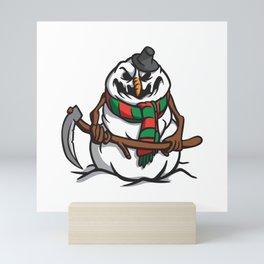 Creepy Comic Snowman Mini Art Print