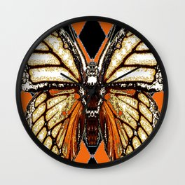 RIBBED WHITE BROWN & BLACK BUTTERFLY WING VEINS Wall Clock