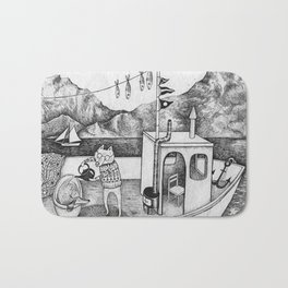 Fox on Fishing-boat Bath Mat