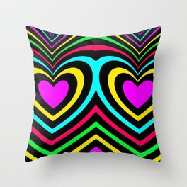 Rainbow heart stripes abstract pattern lgbt awesome  Throw Pillow