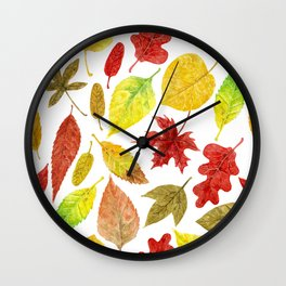 Autumn leaves watercolor white Wall Clock