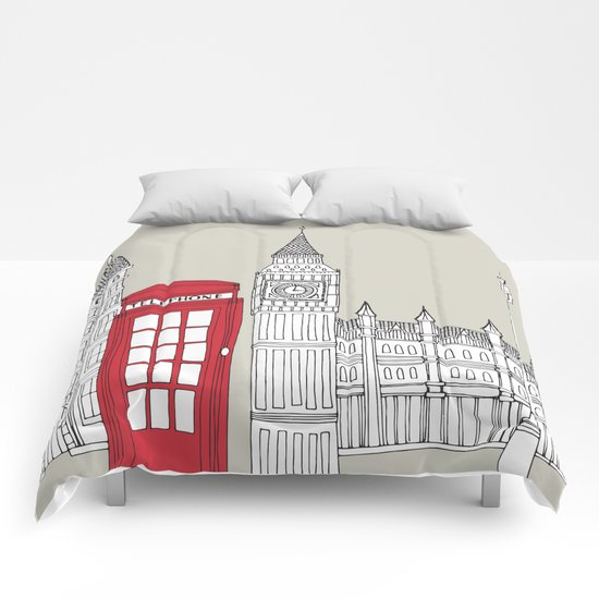 London Red Telephone Box Comforters