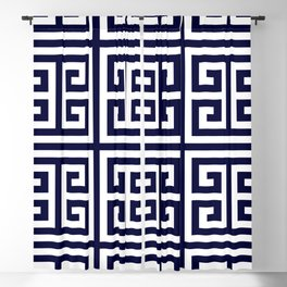 Greek Key Patten White And Navy Blue Blackout Curtain