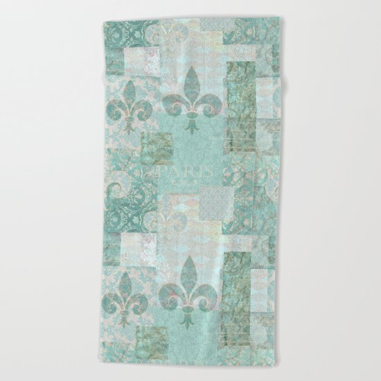 teal baroque patchtwork Beach Towel