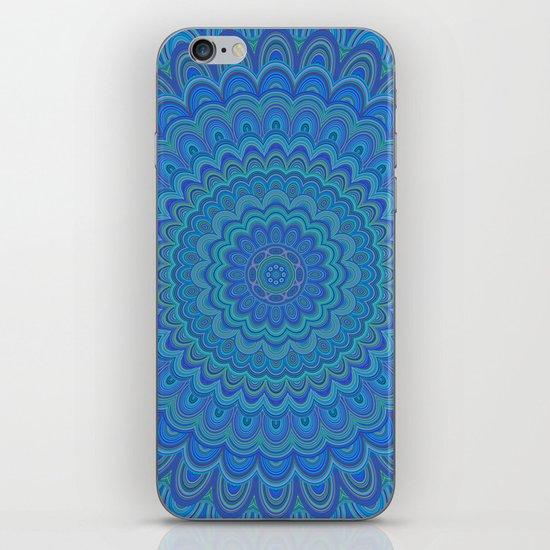 Blue flower mandala iPhone & iPod Skin