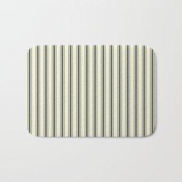 Mattress Ticking Wide Striped Pattern in Dark Black and Beige Bath Mat