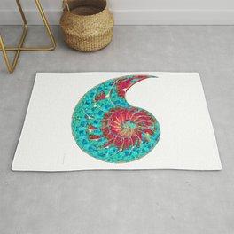 Blue Aqua And Red Art - Be Nautilus - Sharon Cummings Rug