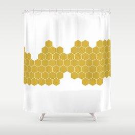 Honeycomb White Shower Curtain