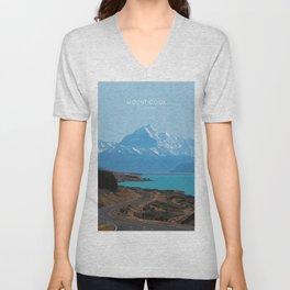 Aoraki/Mount Cook New Zealand Travel Artwork Unisex V-Neck
